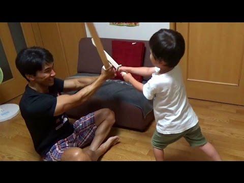 木の板で模造刀を作って息子とチャンバラ遊び!作り方は簡単です
