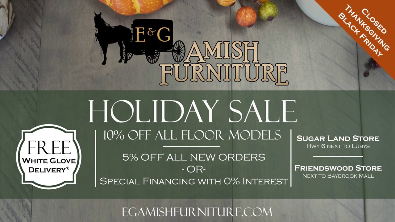 Eg amish furniture november 2018 holiday sale commercial