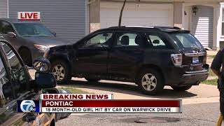 18-month-old girl critically injured after being accidentally hit by car in Pontiac