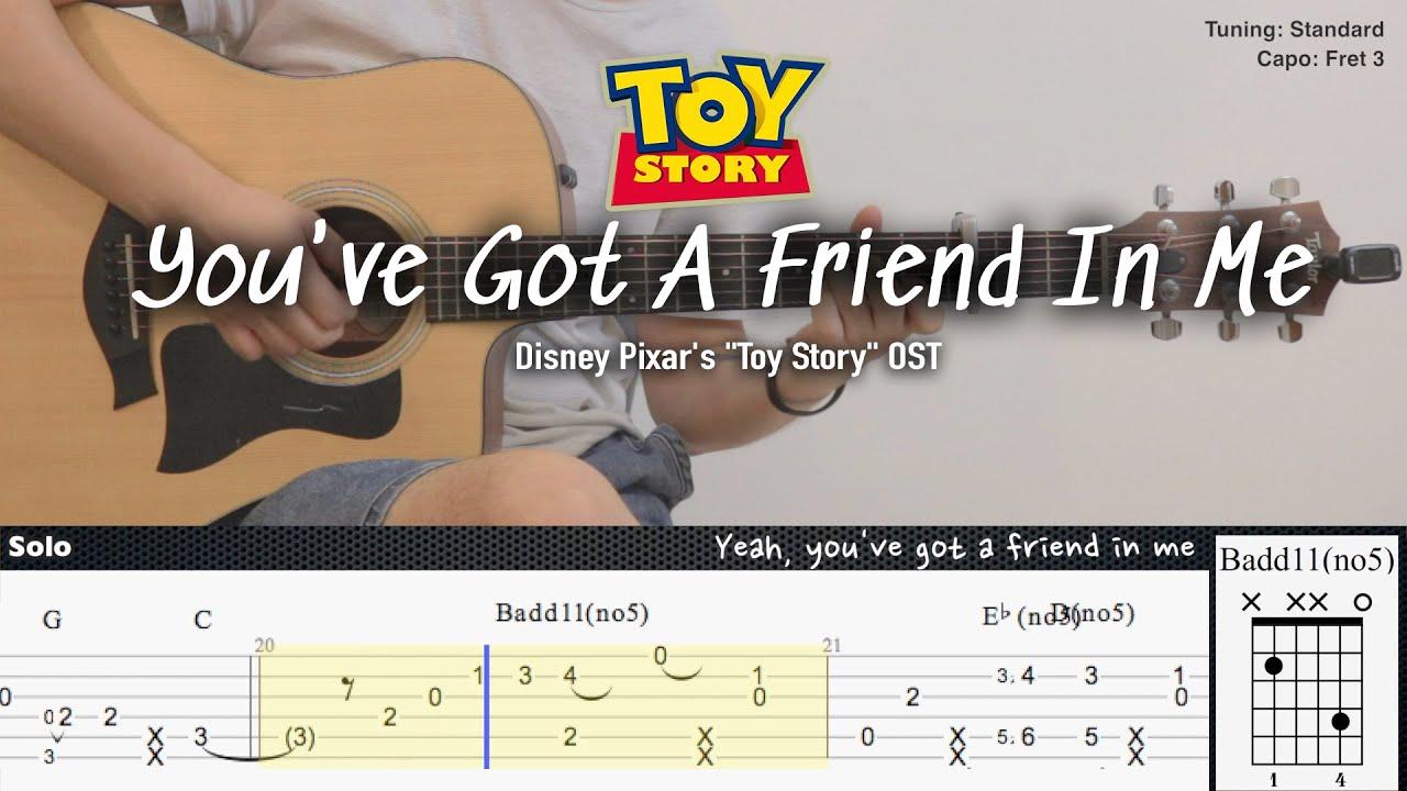"You've Got A Friend In Me - Disney Pixar's ""Toy Story"" OST | Fingerstyle Guitar | TAB+Chords+Lyrics"