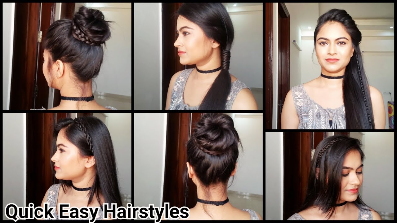 Everyday Quick Easy Hairstyles// indian hairstyles for medium/long hair for  school/college/work
