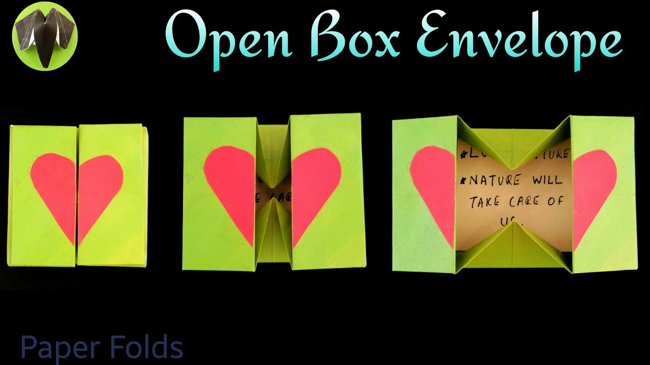Open box envelope diy origami tutorial by paper folds for How to make a paper design