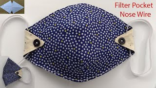 Mask Sewing Tutorial How to Make a Fabric Face Mask with Nose Wire Filter Pocket Mascarilla