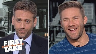 Julian Edelman denies Max's 'cliff theory' about Tom Brady: 'He's the GOAT' | First Take