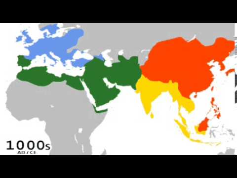 The Spread Of The Four Base Religions YouTube - World religion map 2016