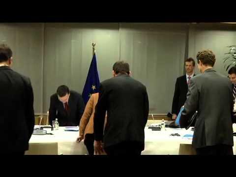 Bilateral meeting of VAN ROMPUY,  BARROSO and MERKEL before EU-Council on 22 11.2012 in Brussels