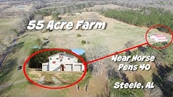 55 Acre Barndominium Home with Ponds Pasture Shooting Range Barns Steele Alabama & Near Chandler Mtn