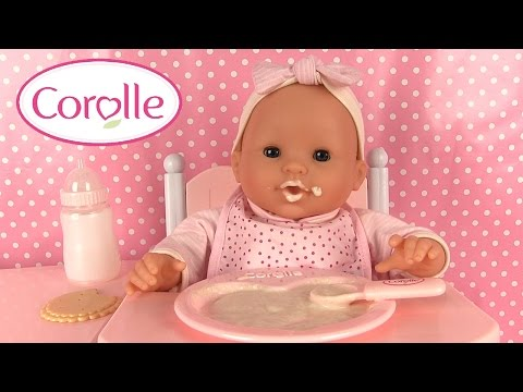 Poupée Corolle Mon Classique Poupon et Chaise Haute Bébé mange sa purée