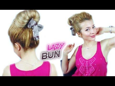 how to - Bubble Messy Bun Hairstyle with braids - easy ...  Hispanic Hair Lazy Bun