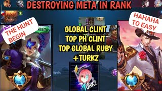 GLOBAL/PH CLINT + GLOBAL RUBY | DESTROYING THE META | MOBILE LEGENDS TIPS TO RANK UP Feat. Turkz