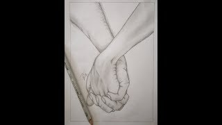 How To Draw People Holding Hands - Pencil Drawing