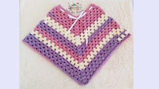 Poncho tejido a crochet para niña