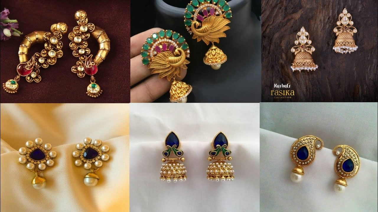 demo earstuds earings gold nithyakalyani sat of earrings simple type jewellery