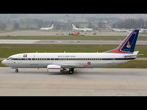 (Live ATC) Boeing 737 of Crown Prince of Thailand Maha Vajiralongkorn at Zürich-Kloten