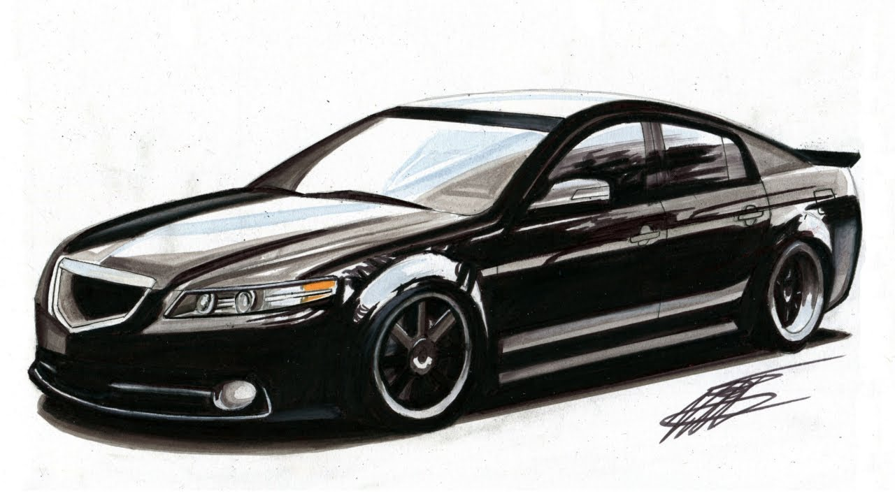 Realistic Car Drawing - Acura Tl Type S - Time Lapse
