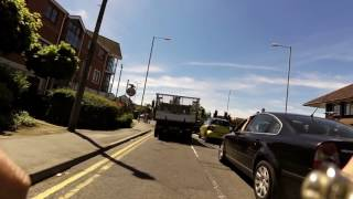 cunt in crap car EJ14EHK gets burnt by cyclist in Winnersh 22/5/17