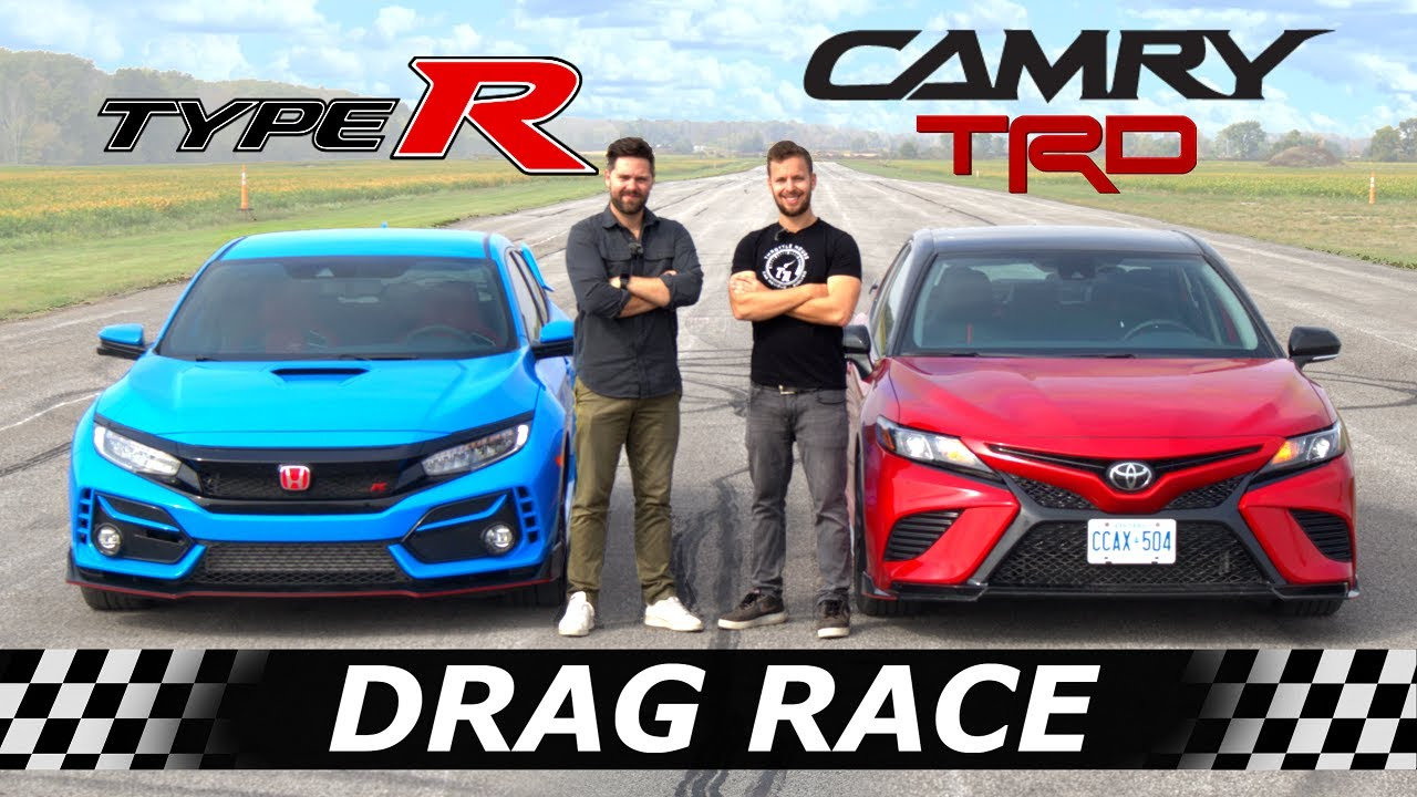2020 Toyota Camry TRD vs Civic Type R // DRAG & ROLL RACE + SURPRISE Contender