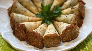 أبواق البوريك الحارة بحشوة الدجاج من المطبخ الليبي # سمبوسة الطربوش Spring Rolls Cones ( Boreek)