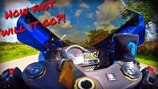 2015 Suzuki GSXR 750 Top Speed Run!(While I was in mexico this happened. The GoPro had a seizure mid-top speed run. 2015 Suzuki gsxr 750 with Stock gearing, No performance mods other than ..., 2016-06-06T17:06:45.000Z)