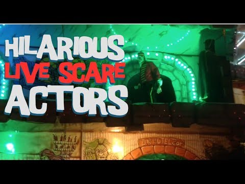 Hilarious Live Scare Actors on Haunted House Ride