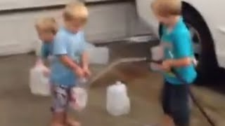 Water Disaster in Garage - Family Fun Pack Old Videos!