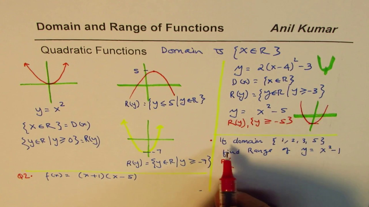 How to find domain and range of quadratic functions youtube how to find domain and range of quadratic functions ccuart Choice Image