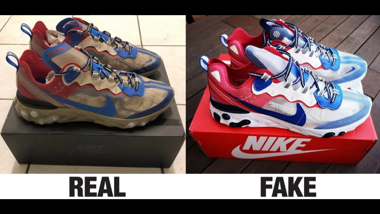 best loved fc025 21814 How To Spot Fake Nike React Element 87 Undercover Sneakers Trainers  Authentic vs Replica Comparison