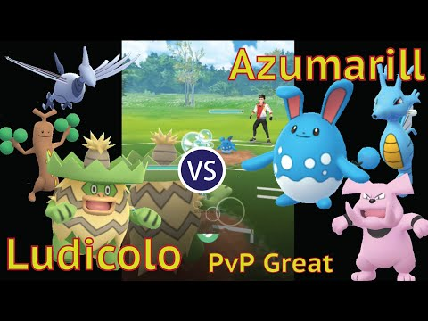 Ludicolo against Azumarill in PVP Great League マリルリ対策にルンパッパ