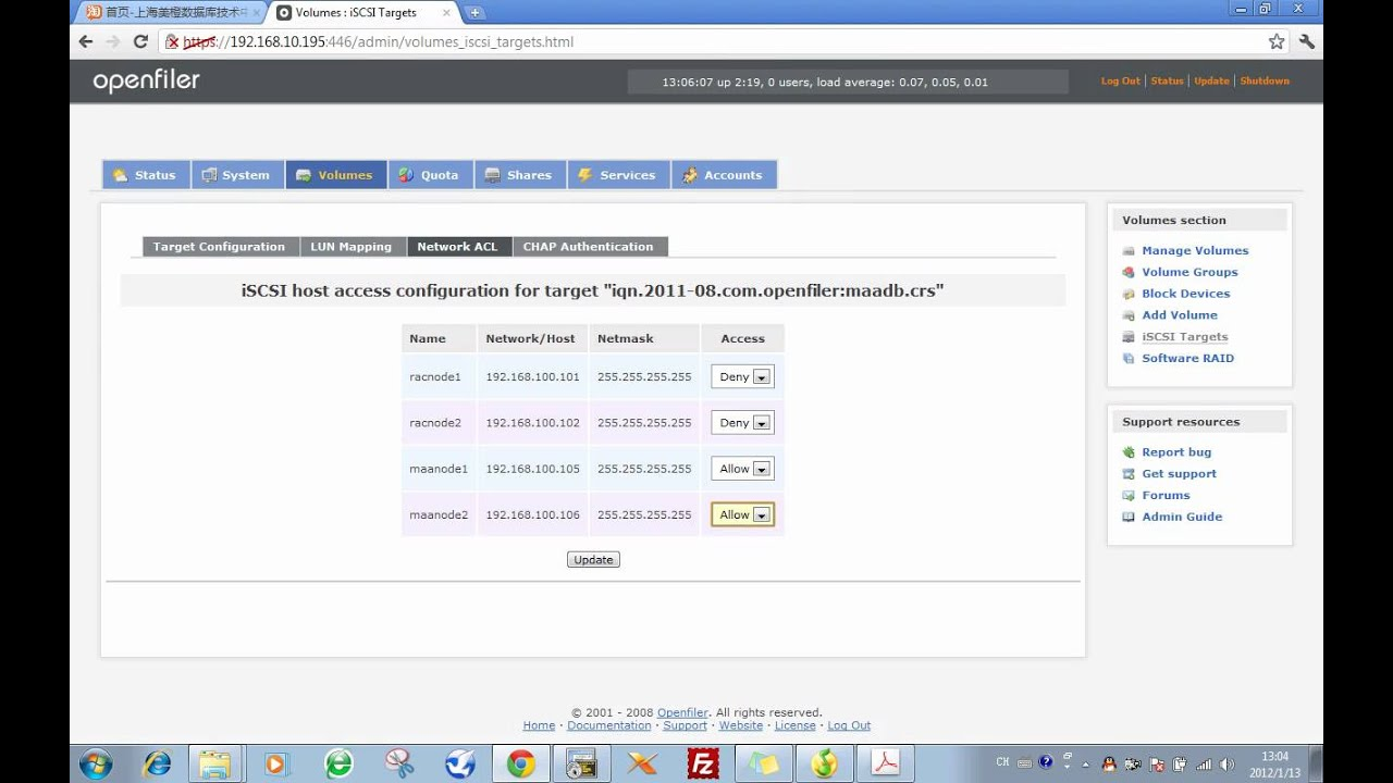 02.08_Oracle_10gR2_RACDG_2.8 Configure iSCSI Volumes using
