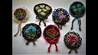 Миниатюрные броши. Мои работы. Бразильская вышивка. Miniatures brooches. Brazilian embroidery