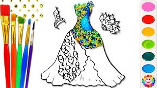 Coloring Barbie Peacock Dress for Girls How to Draw Art Colours for Kids to Learn Coloring