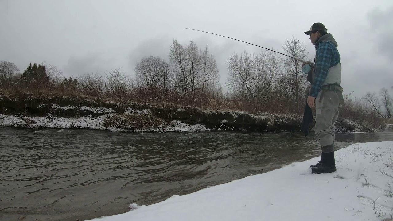 Winter steelhead fishing in the small creek (no fish)