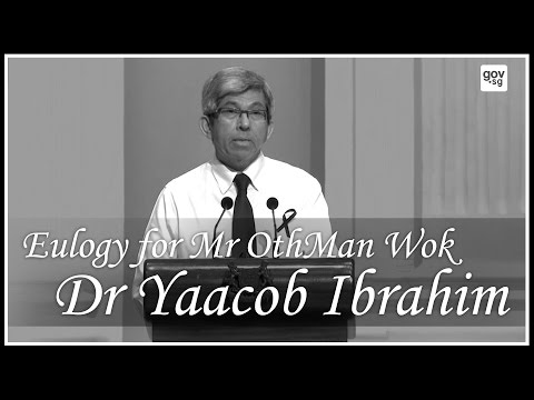 Dr Yaacob Ibrahim delivering a eulogy at the memorial service of the late Mr Othman Wok