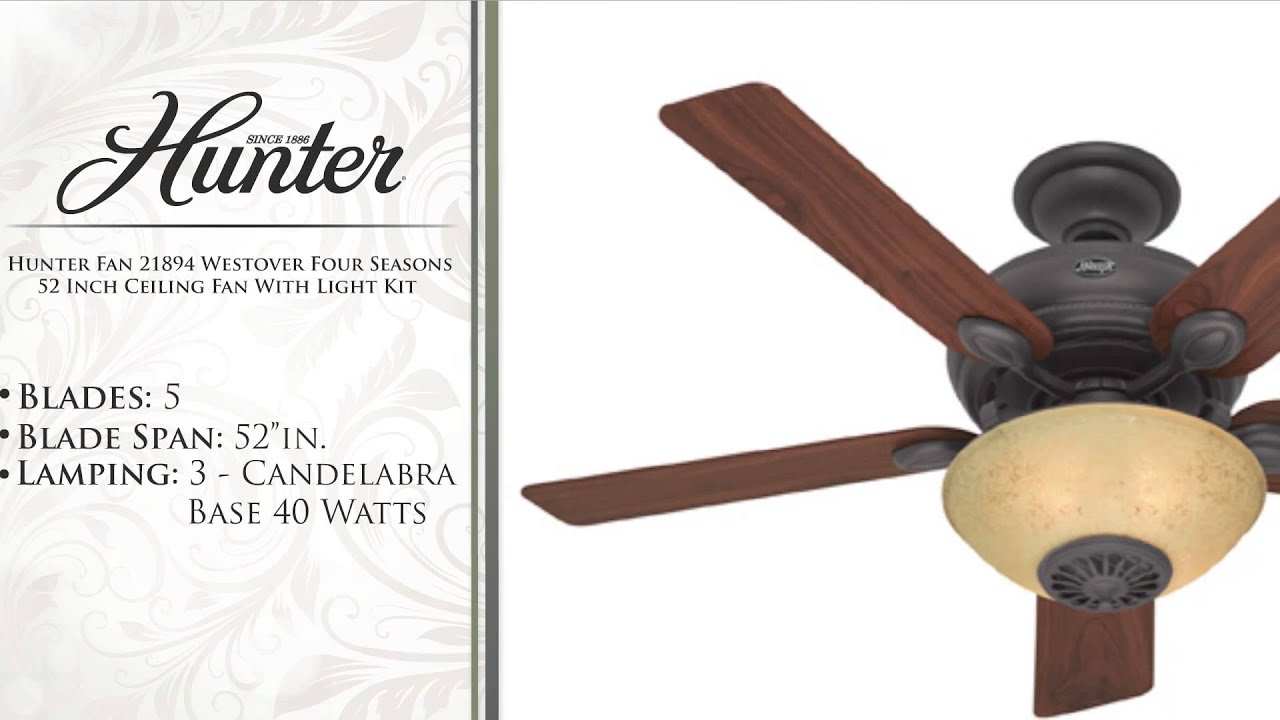Hunter Fan Westover Four Seasons 52 Inch Ceiling Fan With