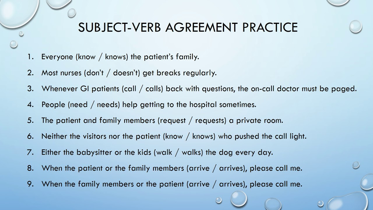 Subject Verb Agreement Youtube