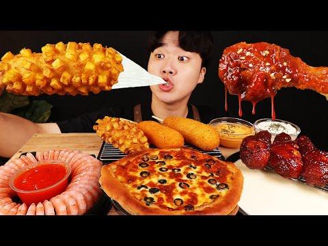 ASMR MUKBANG 피자 떡볶이 & 치즈 퐁듀 & 양념 치킨먹방! FIRE Noodle & FRIED CHICKEN & CHEESE STICK EATING SOUND!