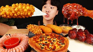 ASMR MUKBANG 피자 떡볶이 & 치즈 퐁듀 & 양념 치킨먹방! FIRE Noodle & FRIED CHICKEN & CHEESE STICK EATING SOUND!