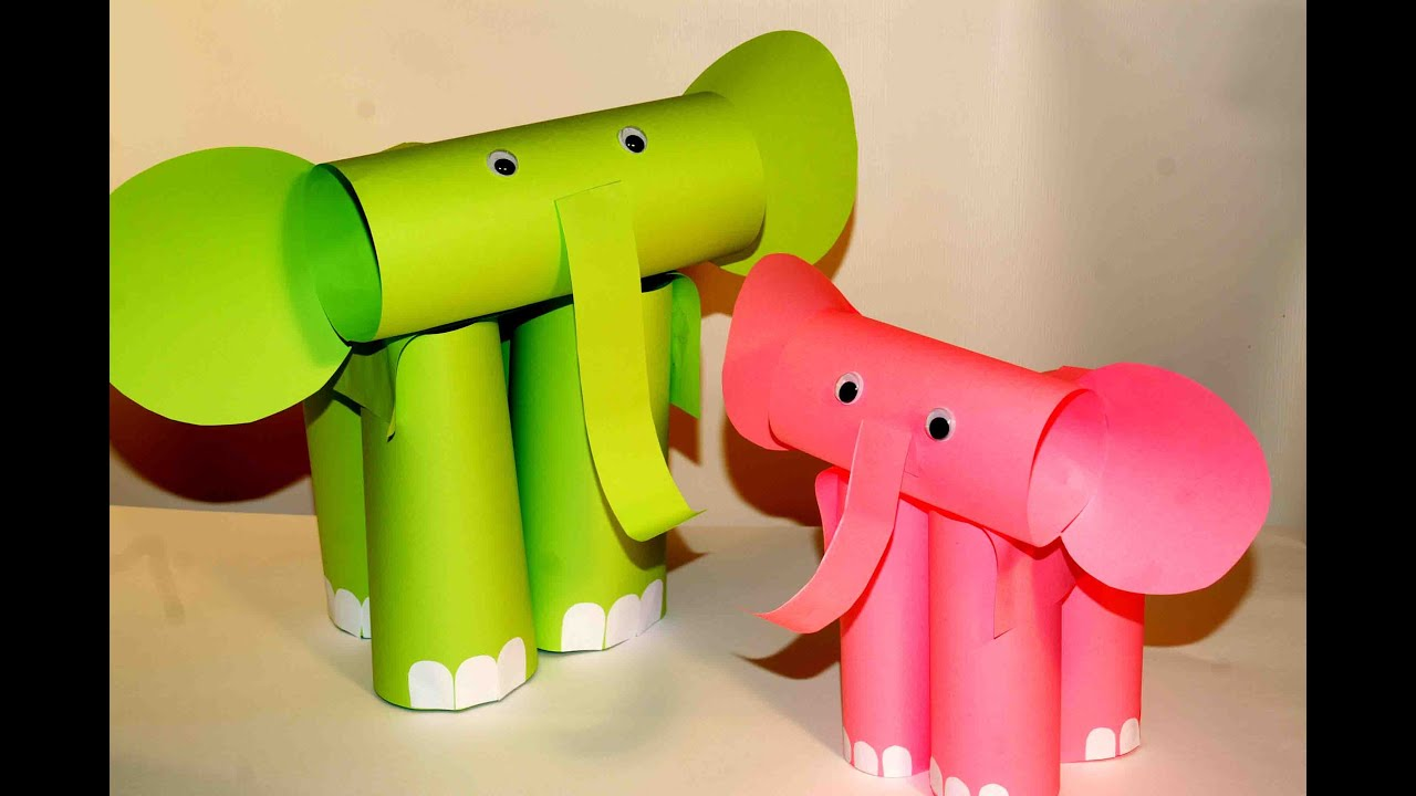 Papercraft Paper craft for kids. Paper elephants. Easy paper crafts.