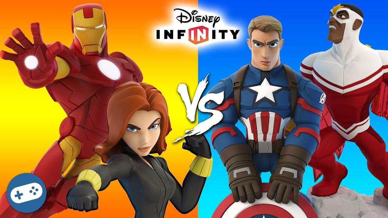 Iron Man And Black Widow Vs Captain America And Falcon Marvel Battlegrounds Disney Infinity 3 0