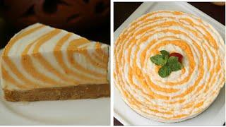 আম দইয়ের জেব্রা কেক বেকিং ঝামেলা ছাড়াই/নো বেক আম দইয়ের জেব্রা কেক/No Bake Mango Yogurt Zebra Cake