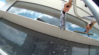 Washing very dirty windows with 50 ft boom lift part 2