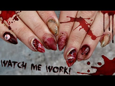 Making a Bloody Mess on My Client's Nails! | Halloween Nail Art