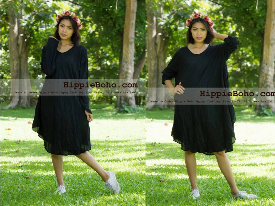 No 002 Size Xs 5x Hippie Boho Bohemian Gypsy Black Long Sleeve Tunic