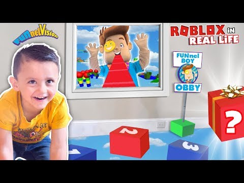 Shawns ROBLOX OBBY in REAL LIFE!  FUNnel BOY OBSTACLE COURSE by FV Family