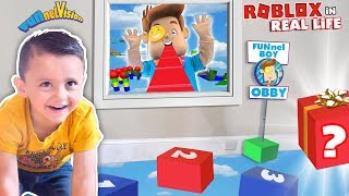 Download Shawn's ROBLOX OBBY in REAL LIFE!  FUNnel BOY OBSTACLE COURSE by FV Family Mp3 and Videos