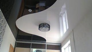 Установка глянцевых черно-белых натяжных потолков