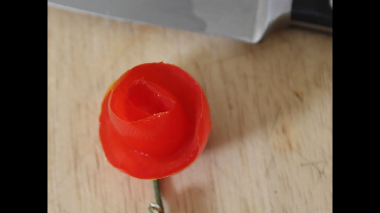 How To Make A Tomato Rose Youtube