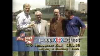 Jack Brickhouse, Harry Caray, Ron Santo together Chicago Cubs Broadcasters.