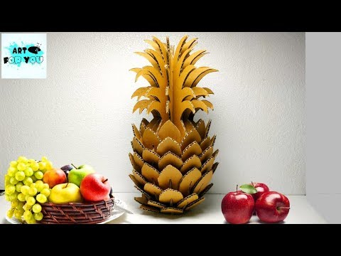 Beautiful DIY Pineapple From Cardboard ..🍍   How to make pineapple from Cardboard   Cardboard DIY