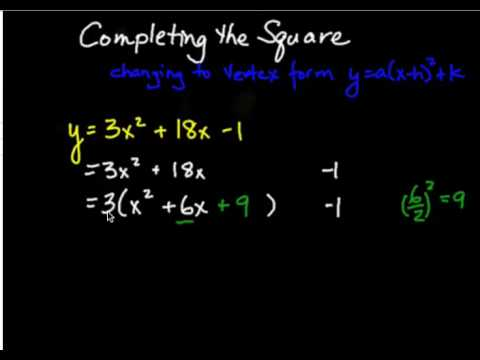 Changing a Quadratic from Standard Form to Vertex Form - YouTube